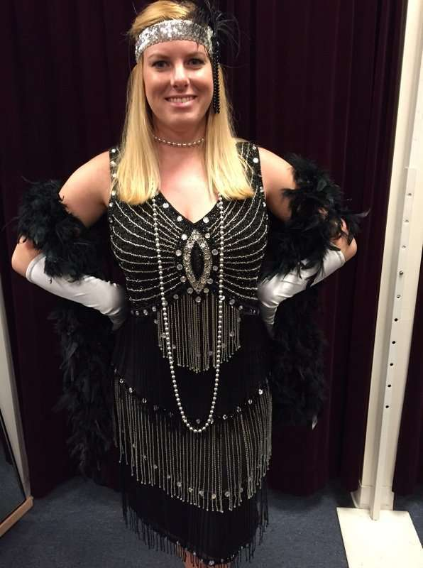 1920's Black and Silver Beaded Dress