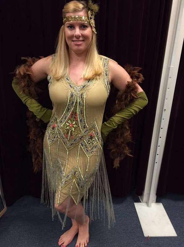 1920's Citron Muli-Colored Beaded Dress