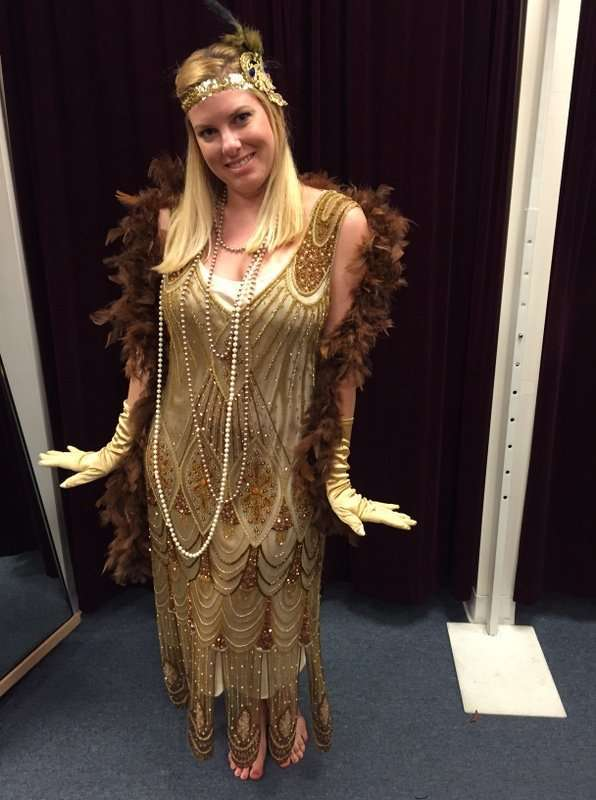 1920's Long Gold Beaded Dress