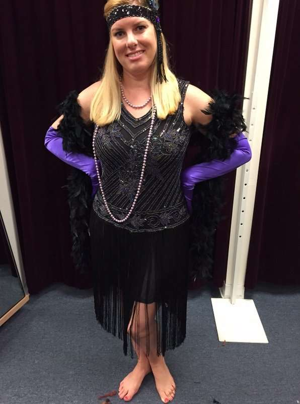 1920's Purple and Black Beaded Dress