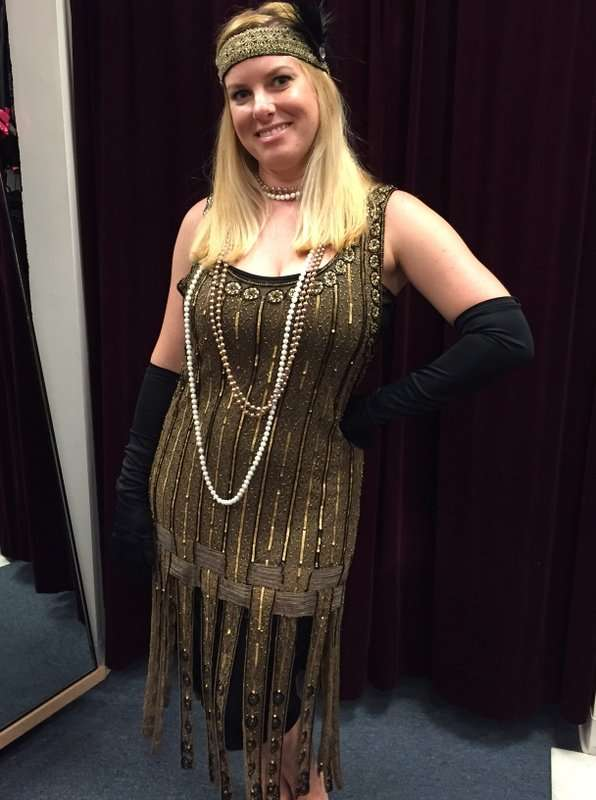 1920's Gold and Black Beaded Dress